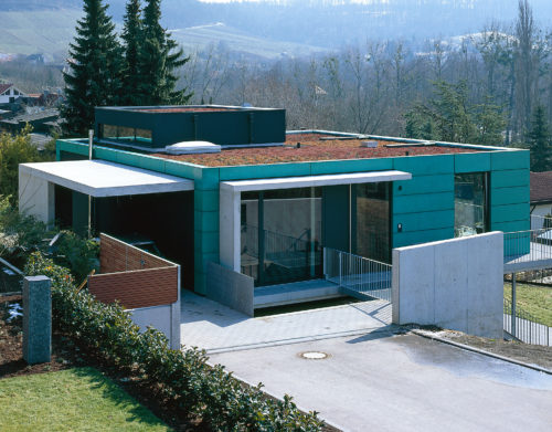 Begrüntes Edelstahlflachdach / Privathaus Heilbronn